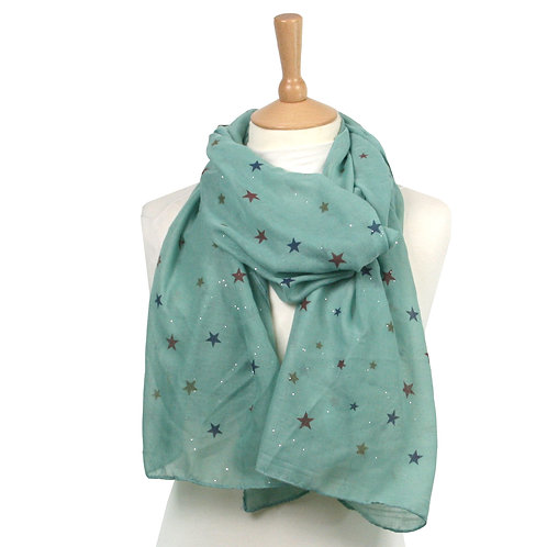 Green Sparkle Star Scarf