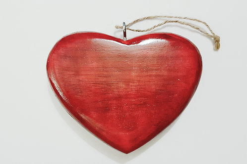 Small Wooden Red Hanging Heart