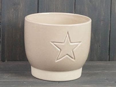 Cream Star Embossed Pot 14cm