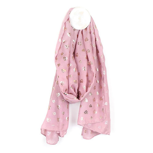 Pink with Rose Gold Hearts Scarf