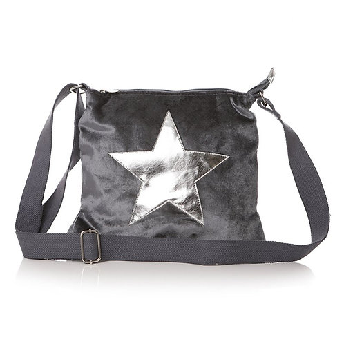 Grey Velvet Star Cross-Body Bag