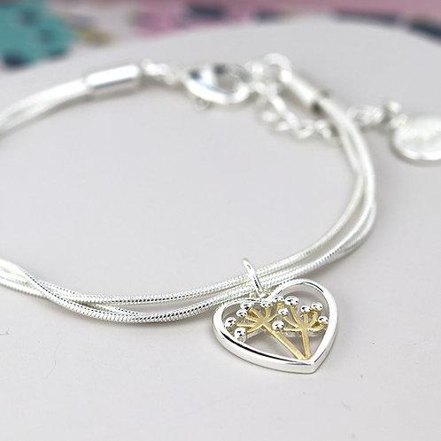 B20001 Floral Heart Bracelet