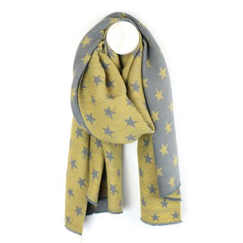 Mustard and Grey Crinkle Star Scarf
