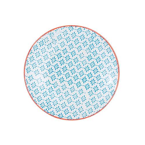 Patterned Side Plate - Blue and Orange