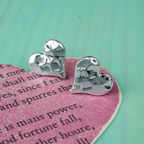 E20023 Hammered Heart Earrings