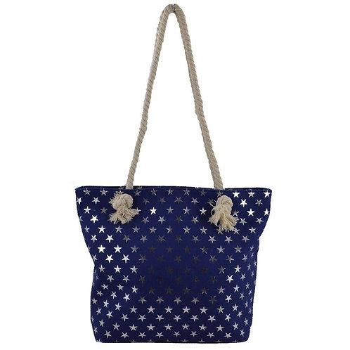 Navy Star Beach Bag