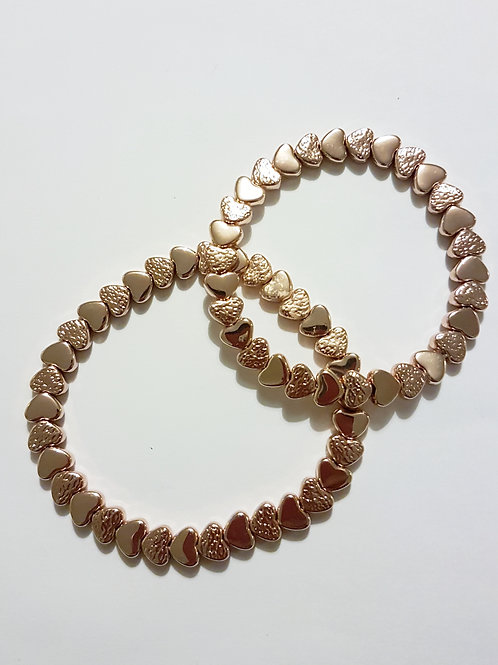 B19002 Rose Gold Heart Stretch Bracelet