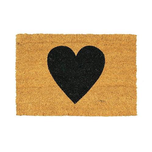 Heart Door Mat - Black