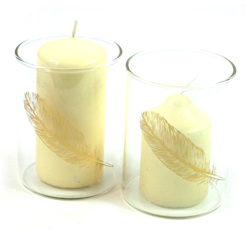 Gold Feather Candle Holder