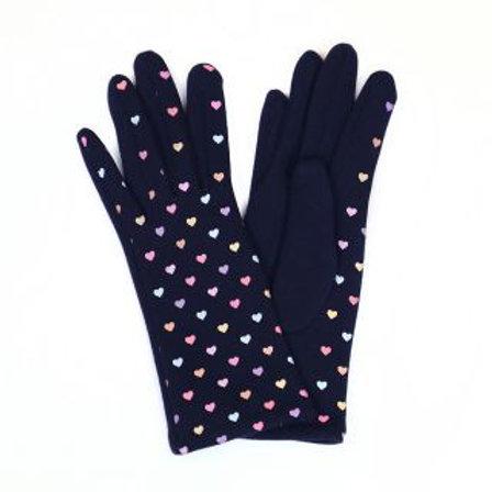 Navy Multicoloured Heart Gloves