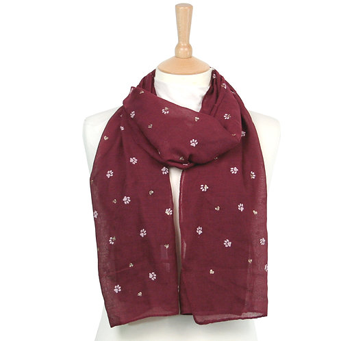 Dark Red Paws and Hearts Scarf