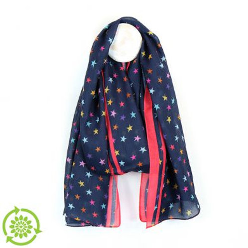 Recycled Navy and Coral Star Scarf