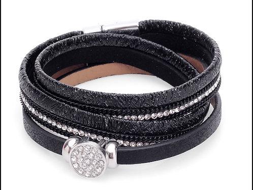 Black Double Wrap with Sparkle Circle Bracelet