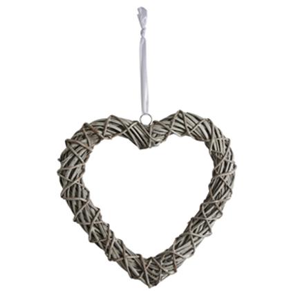 Open Grey Wicker Heart
