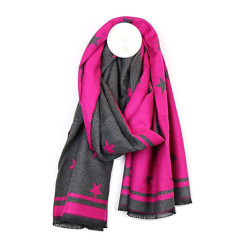 Bright Pink and Grey Star Scarf