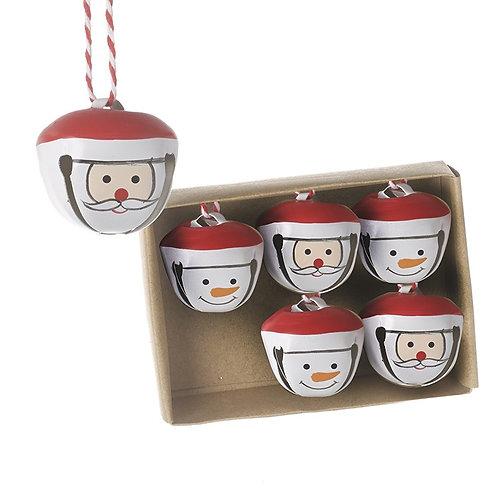 Santa and Snowman Bells (Set of 6)