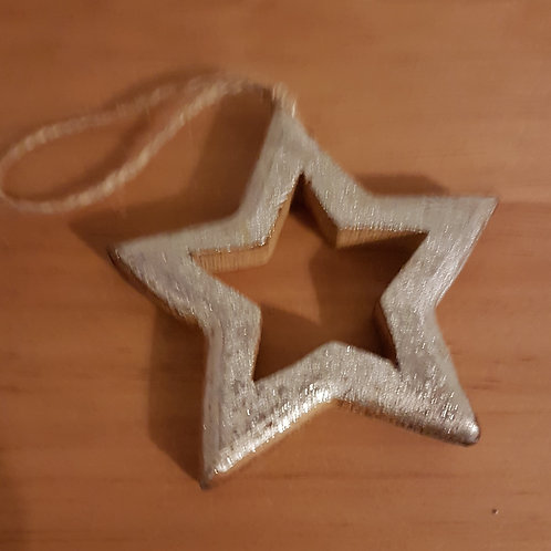 Silver Wooden Star