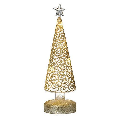Gold Swirl Light-Up Tree