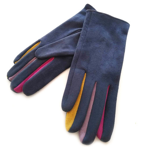 Navy Colourful Betweeners Gloves
