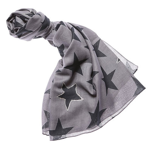 Grey Sequin Star Scarf