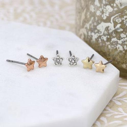 E21014 Triple Set of Star Earrings
