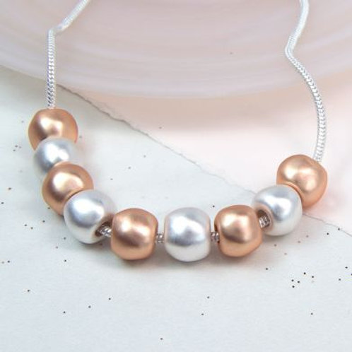 N21023 Rose Gold and Silver Large Bead Necklace