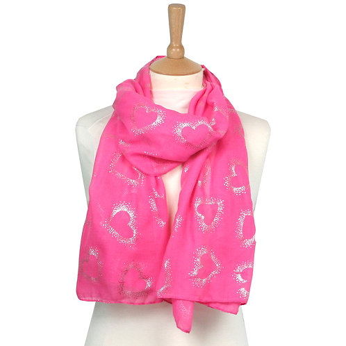 Pink Outline Heart Scarf