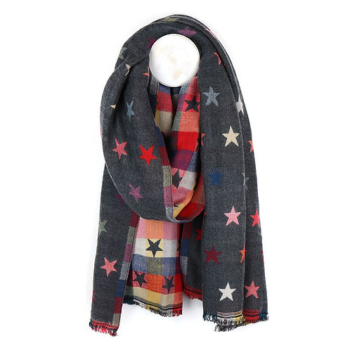 Grey Woollen Scarf with Stars
