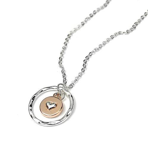 N10066 Rose Gold Heart Token Necklace