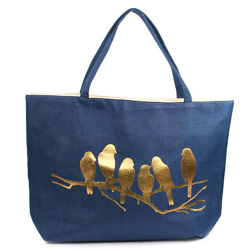 Gold Birds Beach Bag