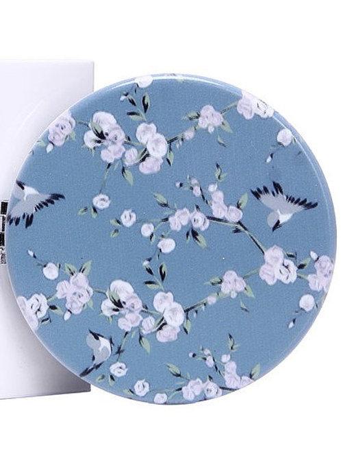Blue Bird & Flower Mirror Compact