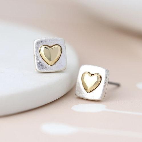 E20021 Heart on Square Earrings