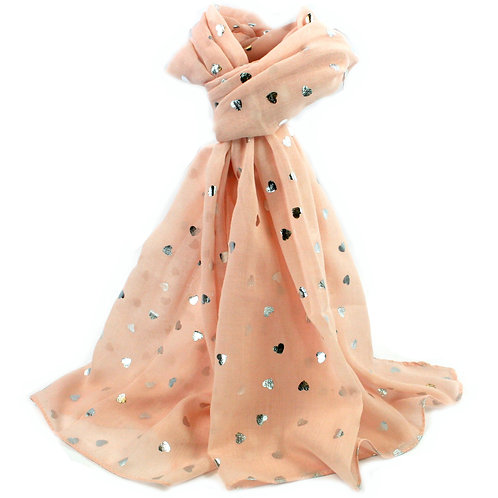 Pink Scarf with Silver Hearts