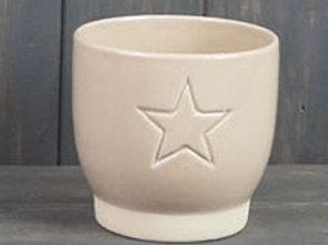 Cream Star Embossed Pot 11cm