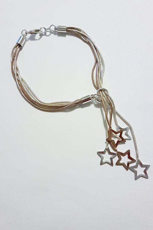 B19005 Rose Gold Star Drops Bracelet
