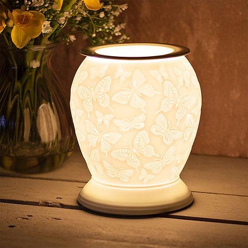 White Ceramic Aroma Lamp - Butterflies