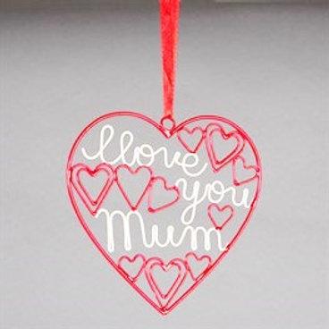 'I Love You Mum' Red Hanger (Sass & Belle)