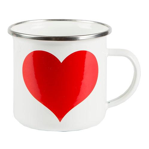 Heart Enamel Mug