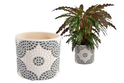 Grey Mosaic Plant Pot - Medium