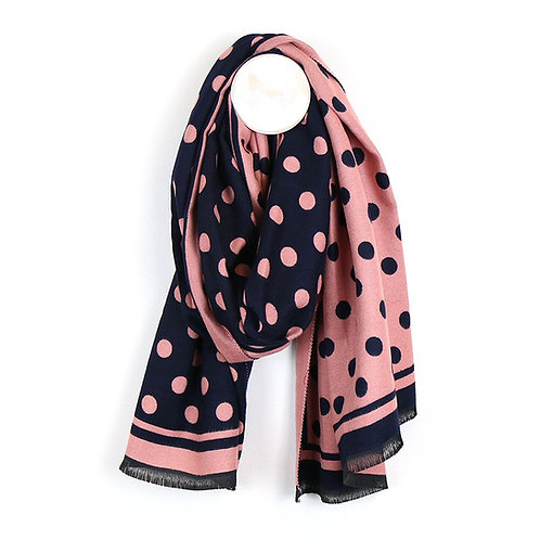Navy and Pink Spot Scarf