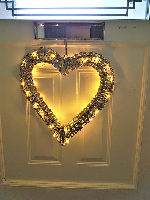 LED Willow Wrapped Heart