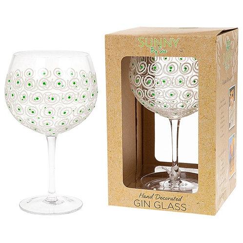 Handpainted Gin Glass - Green Swirl
