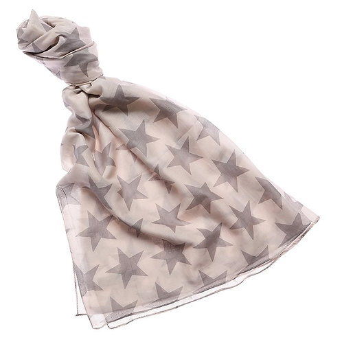 Grey Star Print Scarf