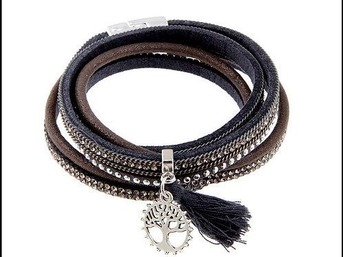 B19029 Double Wrap Grey Tree of Life Bracelet