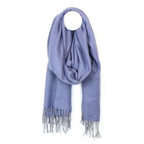 Blue and Grey Tassel Fringed Scarf