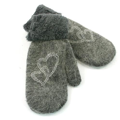 Grey Woollen Mittens - Hearts