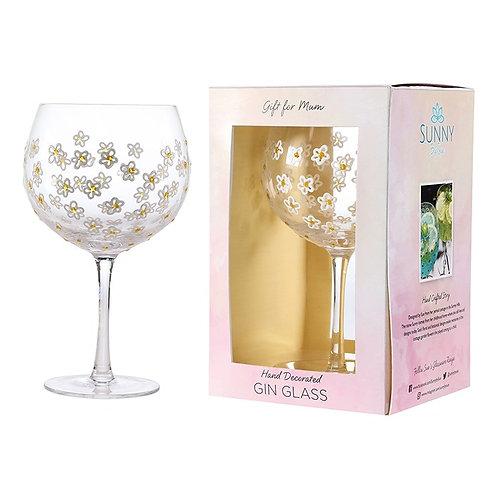 Handpainted Gin Glass - Gold Daisy for Mum