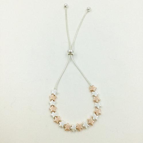 B19025 Silver / Rose Gold Sliding Stars Bracelet