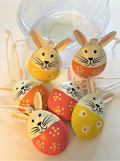 Tin Bunny Decorations (Set of 6)