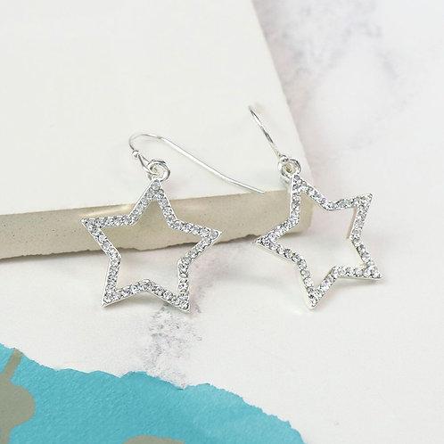 E20013 Crystal Open Star Earrings